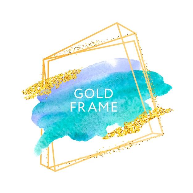 Pinselstriche und goldrahmen. Premium Vektoren