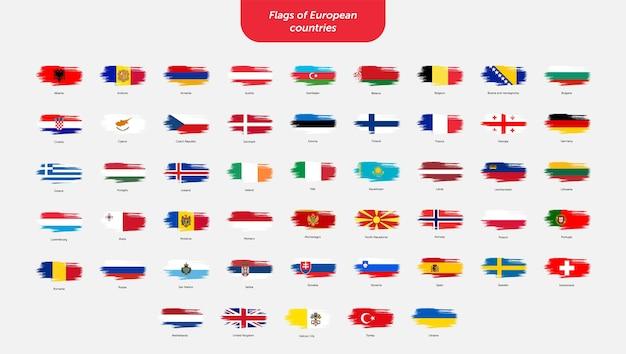 Pinselstrichfahnen europäischer länder Premium Vektoren