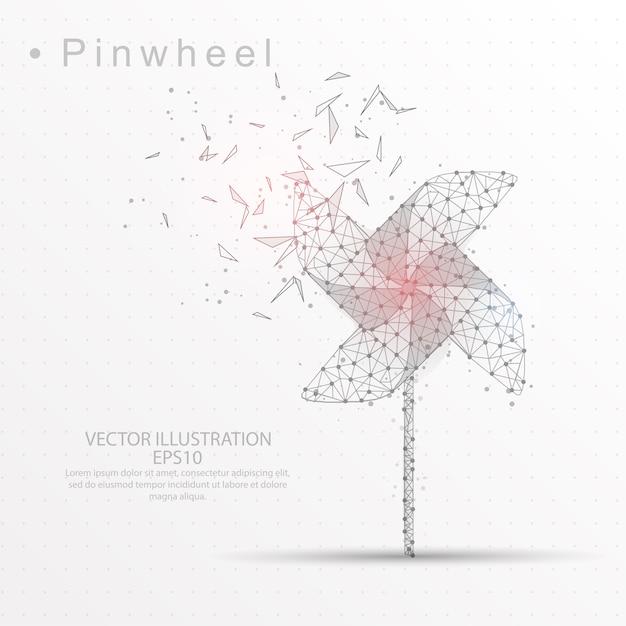 Pinwheel digital gezeichnet low-poly-dreieck drahtgestell. Premium Vektoren