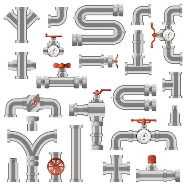 Pipelinebau. wasserrohrabschnitte, industrierohrrohrbau, rohrbau mit drehknöpfen und zählersymbolen gesetzt. illustrationsrohrkonstruktion, rohrleitungsinstallation Premium Vektoren