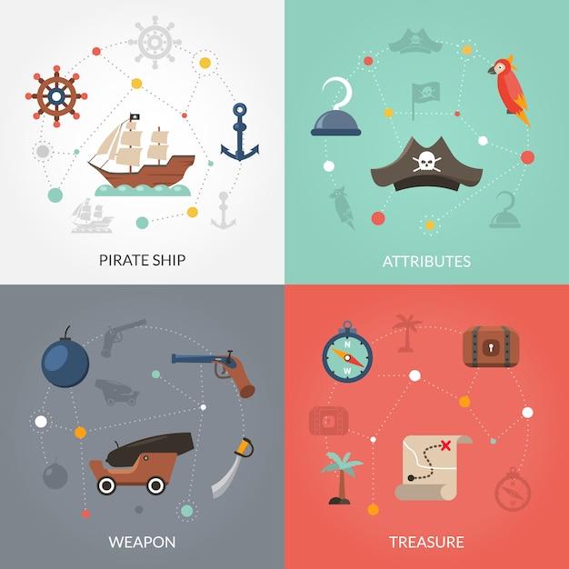 Pirat flach eingestellt Kostenlosen Vektoren