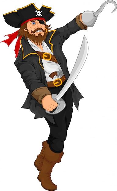 Pirat hält schwert Premium Vektoren