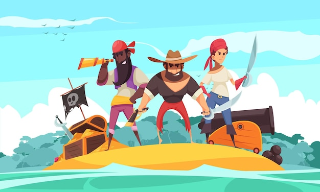 Pirat horizontal mit blick auf insel- und karikaturjuwelen und schatz mit leuten Kostenlosen Vektoren