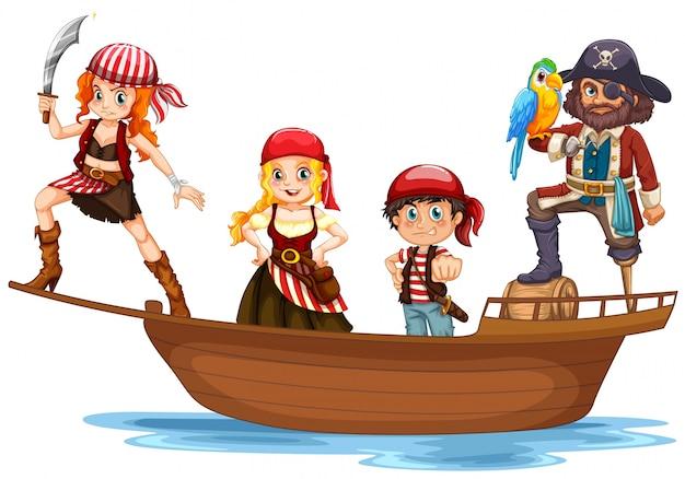 pirat und crew auf holzschiff  premiumvektor