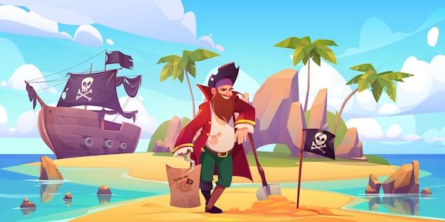 Pirate begrub schatzkiste auf tropischer insel Kostenlosen Vektoren