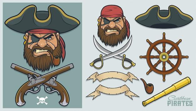 Pirate elements zum erstellen von maskottchen und logo Premium Vektoren