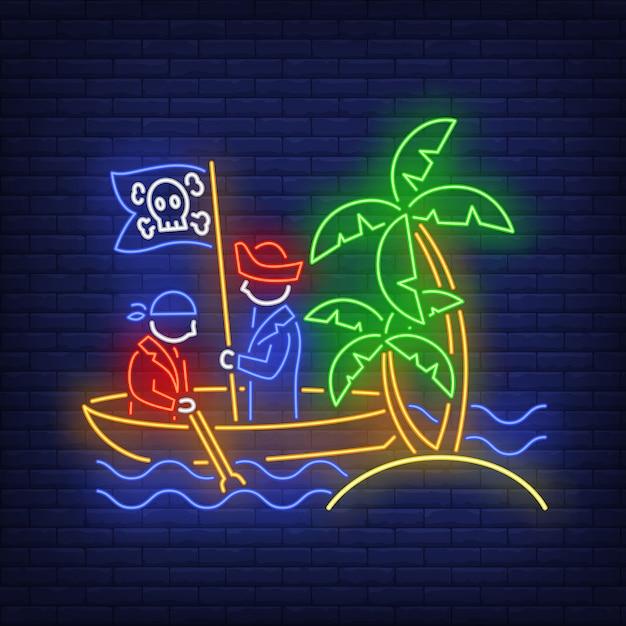 Piraten auf boot und insel mit palmenleuchtreklame Kostenlosen Vektoren