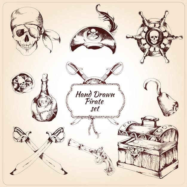 Piraten dekorative elemente festgelegt Premium Vektoren