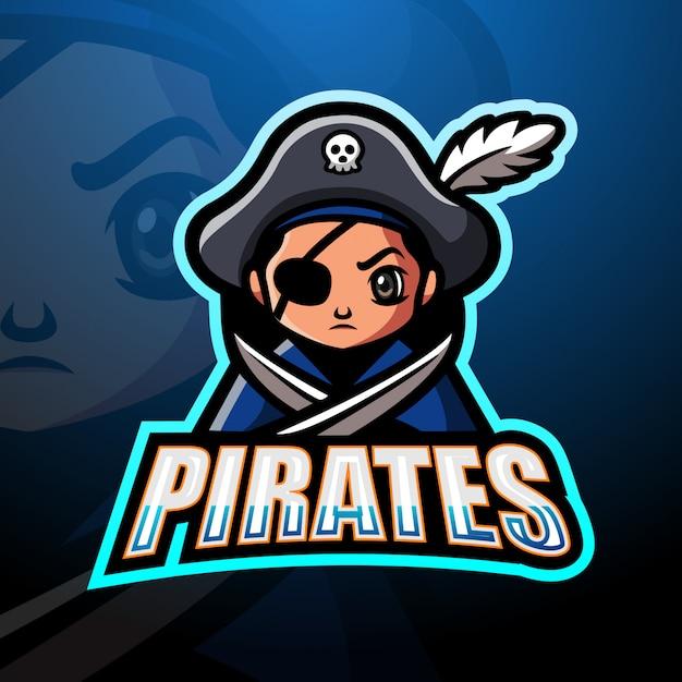 Piraten esport maskottchen logo design Premium Vektoren