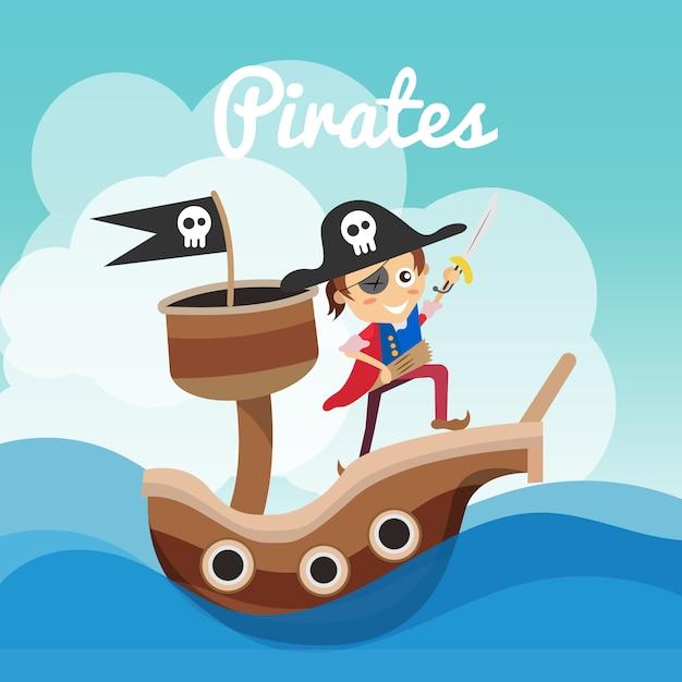Piraten hintergrund design download der kostenlosen vektor