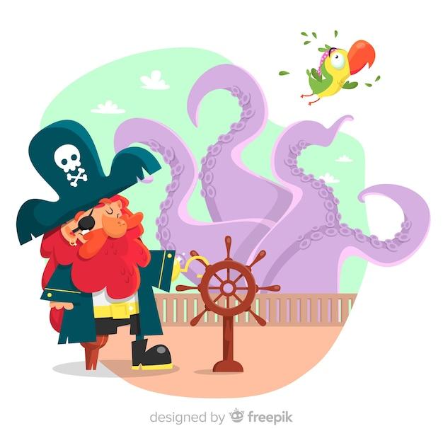 Piraten-hintergrund Kostenlosen Vektoren