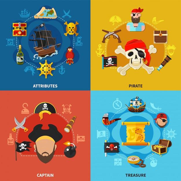 Piraten-karikatur-konzept des entwurfes Kostenlosen Vektoren