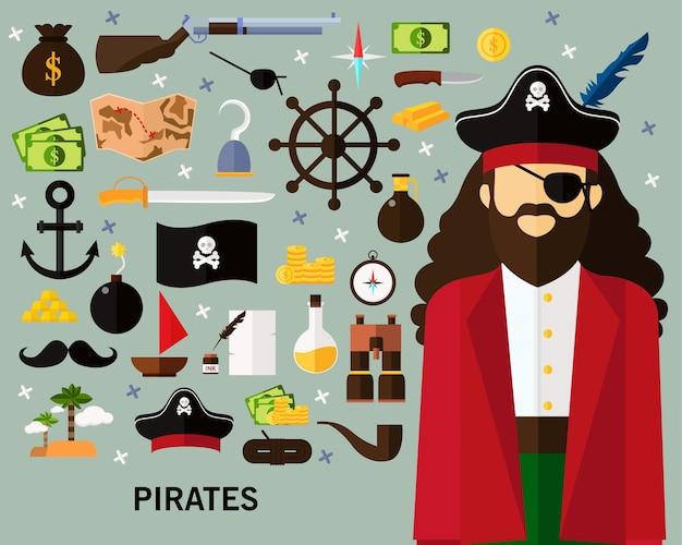 Piraten-konzept-hintergrund Premium Vektoren