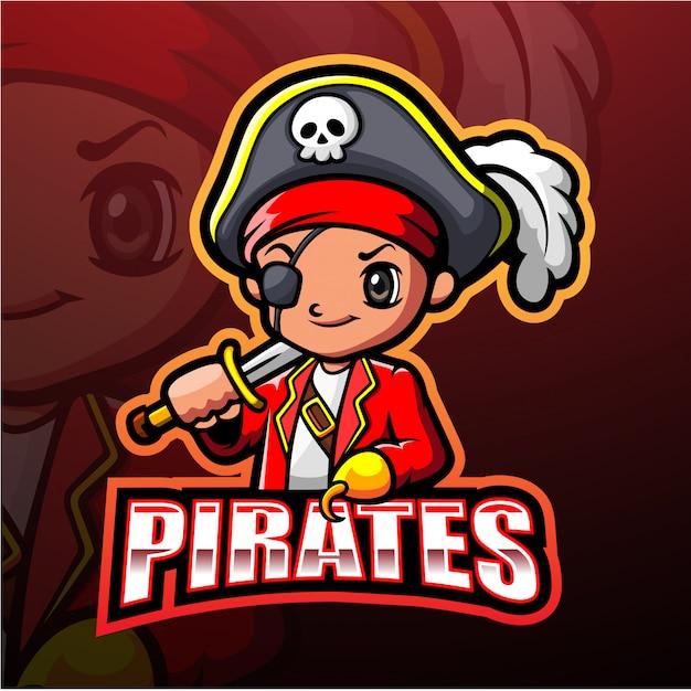 Piraten maskottchen esport illustration Premium Vektoren