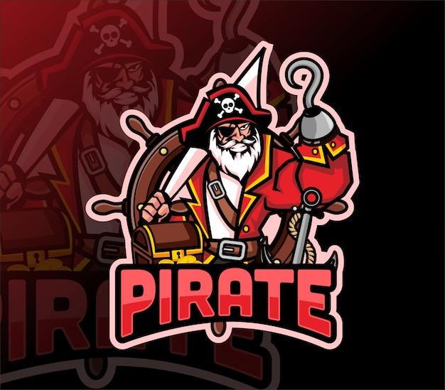 Piraten maskottchen esport logo design Premium Vektoren