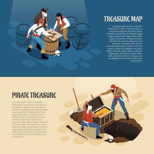 Piraten nähern sich schatzkarte und kasten mit den goldisometrischen fahnen, die auf blauer beige lokalisiert werden Kostenlosen Vektoren