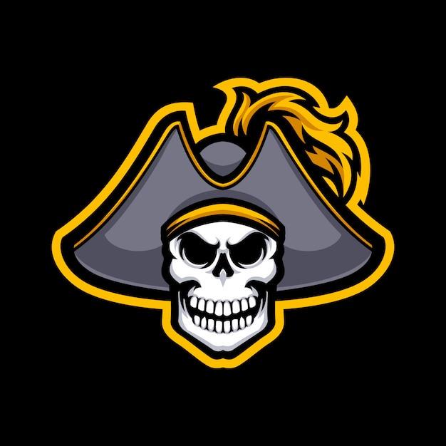 Piraten-schädelmaskottchen logo lokalisiert Premium Vektoren