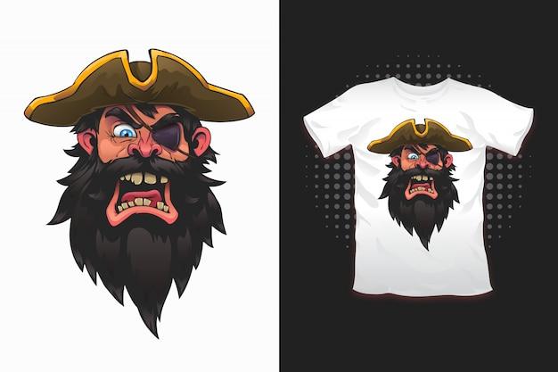Piratendruck für t-shirt design Premium Vektoren