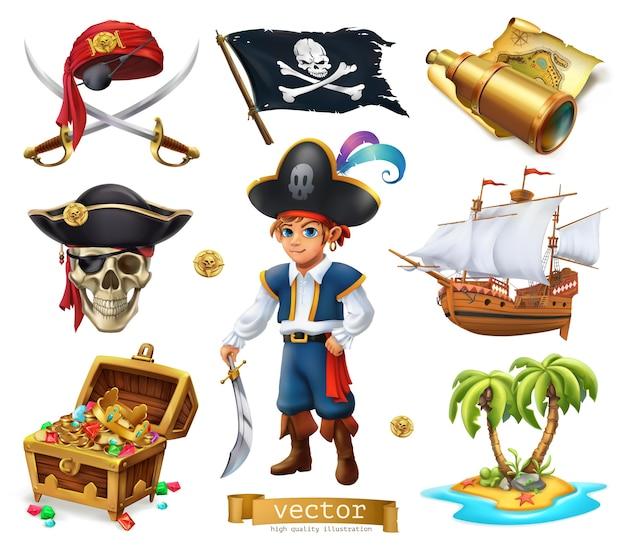 Piratenelemente gesetzt Premium Vektoren