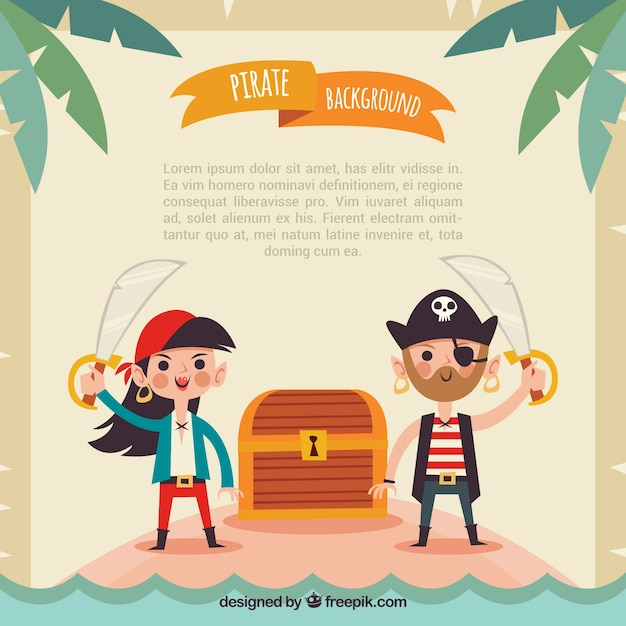 Piratenhintergrund mit schatztruhe Kostenlosen Vektoren