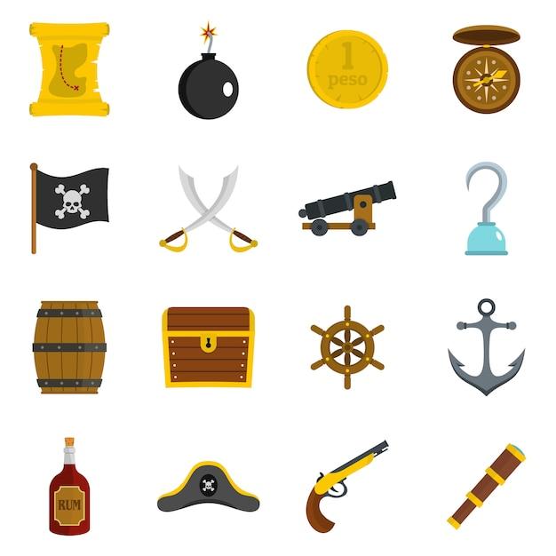 Piratenikonen eingestellt in flache Premium Vektoren