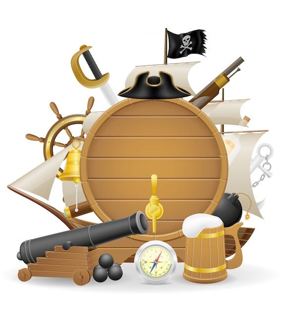 Piratenkonzept-elementvektorillustration Premium Vektoren