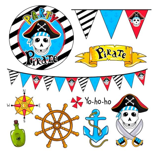 Piratenpartei-elementsammlung Premium Vektoren
