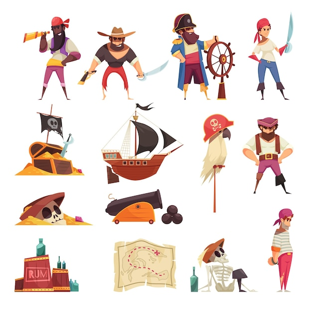 Piratensatz lokalisierte ikonen mit karikatur versendet karten und skelettsymbole mit leuten Kostenlosen Vektoren