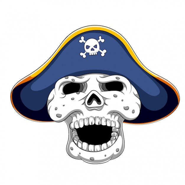 Piratenschädel und gespannter hut Premium Vektoren
