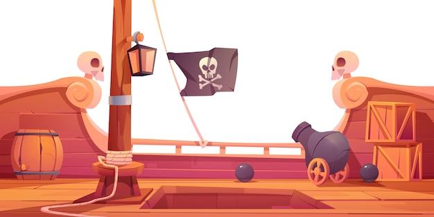 Piratenschiff holzdeck an bord ansicht mit kanone Kostenlosen Vektoren