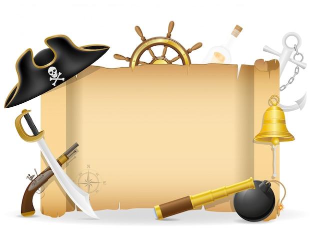 Piratenschild mit copyspace vektorillustration Premium Vektoren