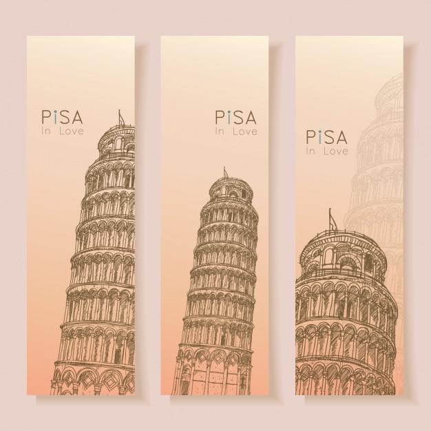 Pisa banner-sammlung Kostenlosen Vektoren