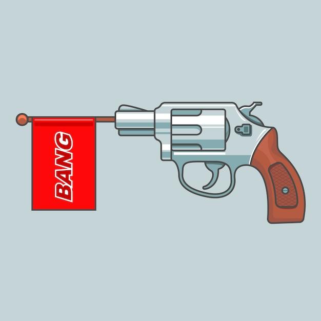 Pistolenrevolver schießt Premium Vektoren