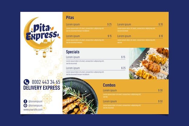 Pita express restaurant so gute speisekarte Kostenlosen Vektoren