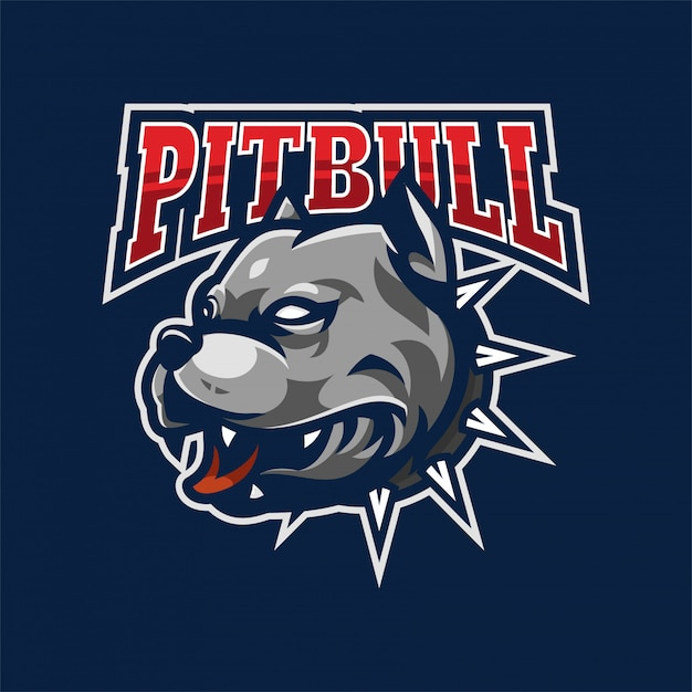 Pitbull maskottchen logo Premium Vektoren