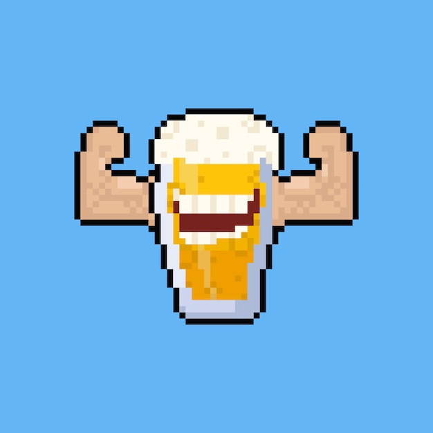 Pixel art cartoon bierkrug charakter beugen den muskel. Premium Vektoren