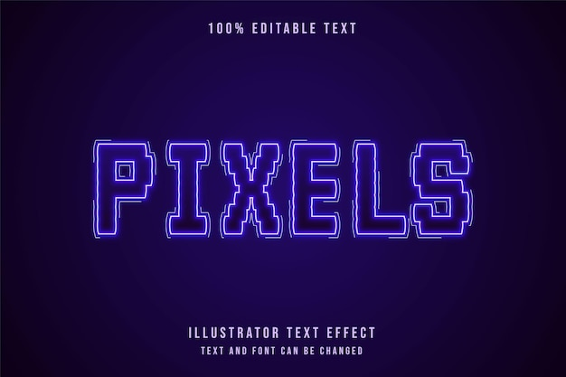 Pixel, bearbeitbarer texteffekt moderner lila abstufungsneontextstil Premium Vektoren