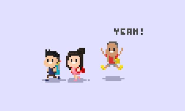 Pixel children character.back to school.8bit. Premium Vektoren