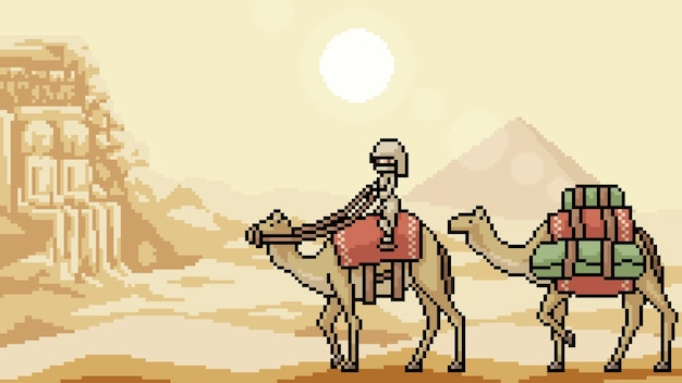 Pixel kunstszene wüstenreise Premium Vektoren