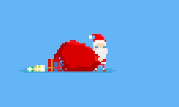 Pixel mini weihnachtsmann mit großen geschenktüte Premium Vektoren