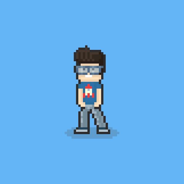 Pixel-nerd-typ-charakter. 8 bit. Premium Vektoren