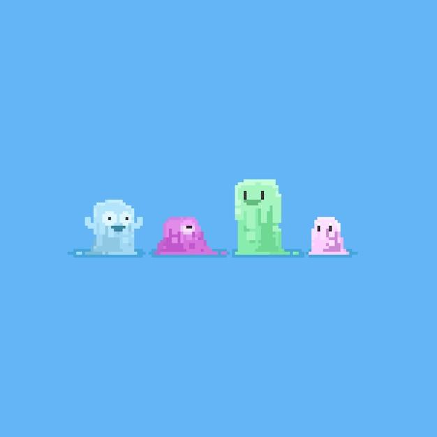 Pixel niedlichen schleim character.pastel farbe Premium Vektoren