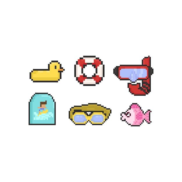 Pixel schwimmen elemente Premium Vektoren