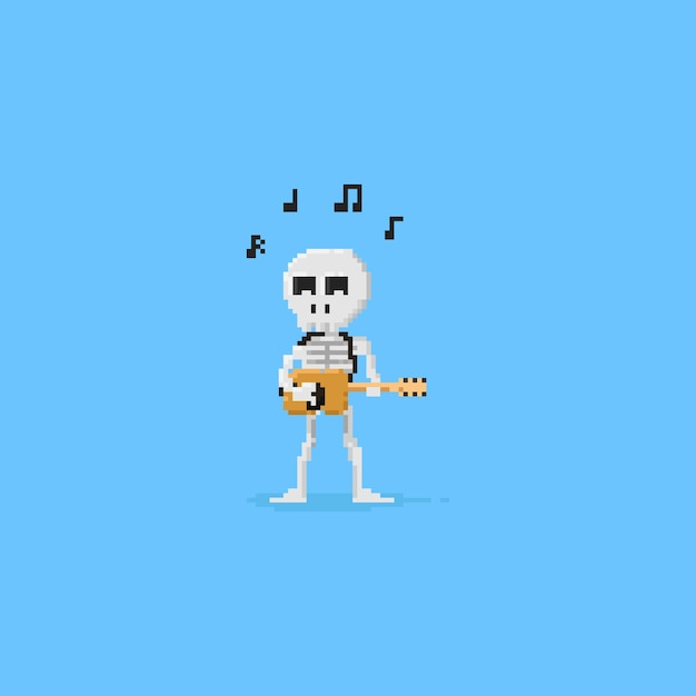Pixel skelett spielt gitarre. Premium Vektoren