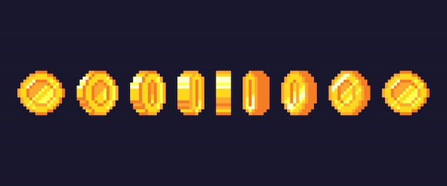 Pixel spiel münzen animation. golden pixelierte münze animierte rahmen, retro 16 bit pixel gold und videospiele geld illustration Premium Vektoren