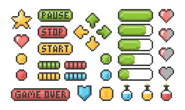 Pixel-spiel-symbol. ui-webbars und schaltflächen für 8-bit-konsolen-retro-elemente. Premium Vektoren