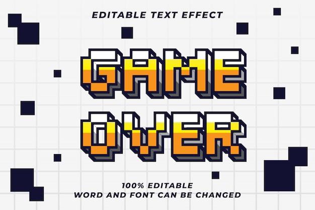 Pixel-spiel über textstil-effekt Premium Vektoren
