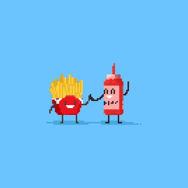 Pixel süße pommes frites und ketchup macht die high five Premium Vektoren