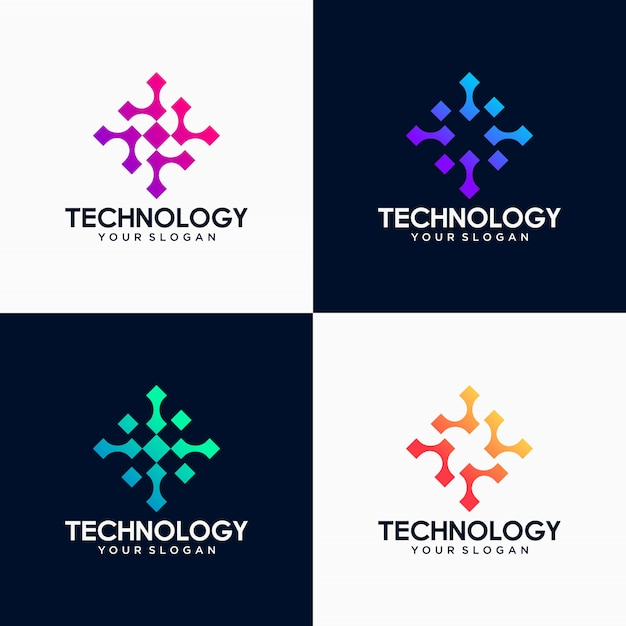 Pixel tech logo set Premium Vektoren