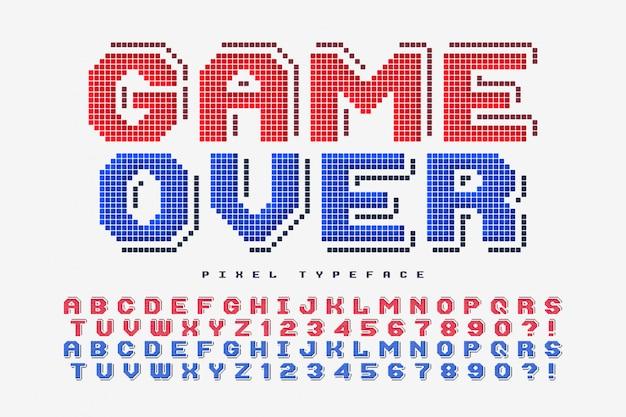 Pixel-vektorschrift, stilisiert wie in 8-bit-spielen Premium Vektoren